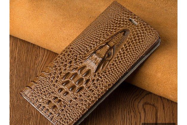 Роскошный эксклюзивный чехол с объёмным 3d изображением кожи крокодила коричневый для zte blade v8 (bv0800) . только в нашем магазине. количество ограничено