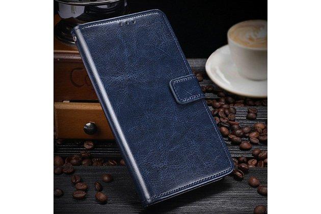 Чехол-книжка из качественной импортной кожи с подставкой застёжкой и визитницей для zte blade v8 (bv0800) синий