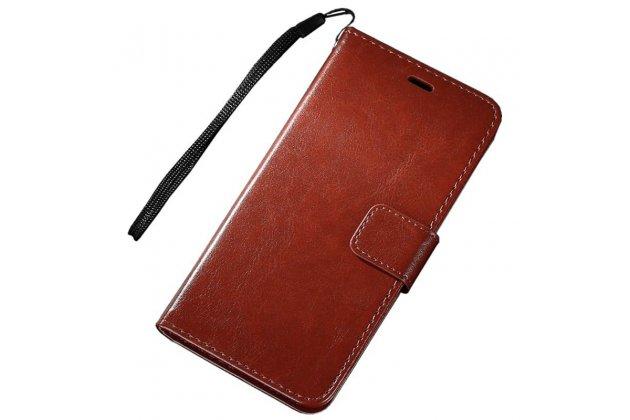Чехол-книжка из качественной импортной кожи с подставкой застёжкой и визитницей для zte blade v8 (bv0800) коричневый
