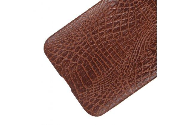 Роскошная элитная премиальная задняя панель-крышка на пластиковой основе обтянутая лаковой кожей крокодила  для zte blade v8 (bv0800) коричневая