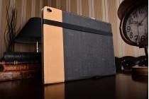 Фирменный уникальный необычный чехол-подставка для ASUS Transformer 3 Pro T303UА (GN052T) 12.6  черный кожаный с золотой полосой