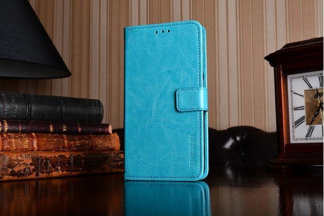 Чехол-книжка из качественной импортной кожи с подставкой застёжкой и визитницей для асус зенфон 4 макс зс554кл 5.5 голубой