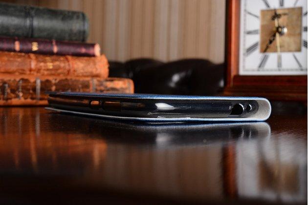 Чехол-книжка с визитницей и мультиподставкой на жёсткой металлической основе для asus zenfone 4 max zc554kl 5.5 синий из настоящей джинсы