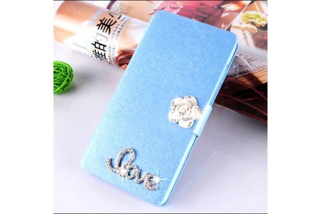 Роскошный чехол-книжка безумно красивый декорированный бусинками и кристаликами на asus zenfone 4 max zc554kl 5.5 голубой