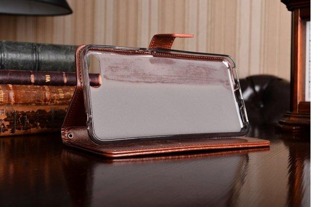 Чехол-книжка из качественной импортной кожи с подставкой застёжкой и визитницей для asus zenfone 4 max zc554kl 5.5 коричневый