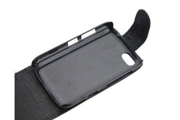 Вертикальный откидной чехол-флип для blackberry 9720 черный из натуральной кожи prestige