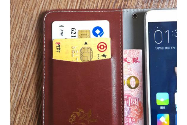Чехол-книжка из качественной импортной кожи с подставкой застёжкой и визитницей для blackberry aurora коричневый