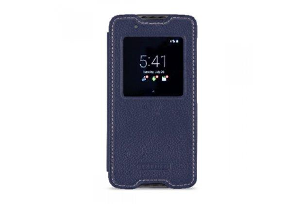 Чехол-кейс из импортной кожи quick circle для blackberry neon/ blackberry dtek50 с умным окном синий