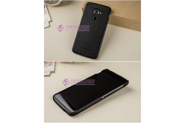 Премиальная элитная крышка-накладка из тончайшего прочного пластика и качественной импортной кожи  для blackberry dtek60  черная