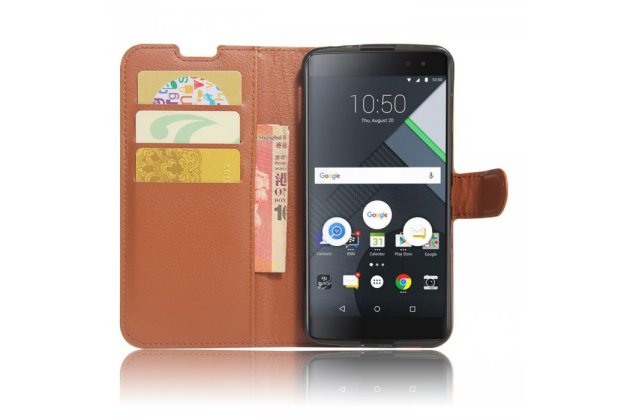 Чехол-книжка из качественной импортной кожи с подставкой застёжкой и визитницей для blackberry dtek60 коричневый