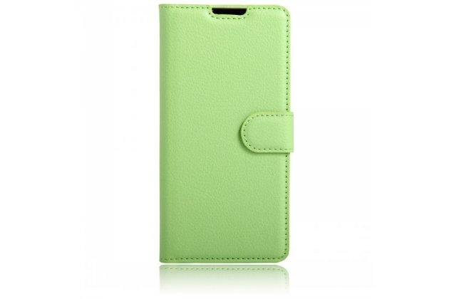 Чехол-книжка из качественной импортной кожи с подставкой застёжкой и визитницей для blackberry dtek60 зеленый