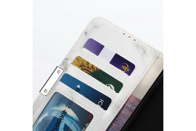 Чехол-книжка из качественной кожи с подставкой застёжкой и визитницей c рисунком белый мрамор для blackberry dtek60