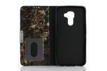 Чехол-книжка из качественной кожи с подставкой застёжкой и визитницей c рисунком черный мрамор для blackberry dtek60