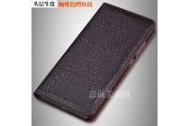 Роскошный эксклюзивный чехол с фактурной прошивкой рельефа кожи крокодила коричневый для blackberry dtek60