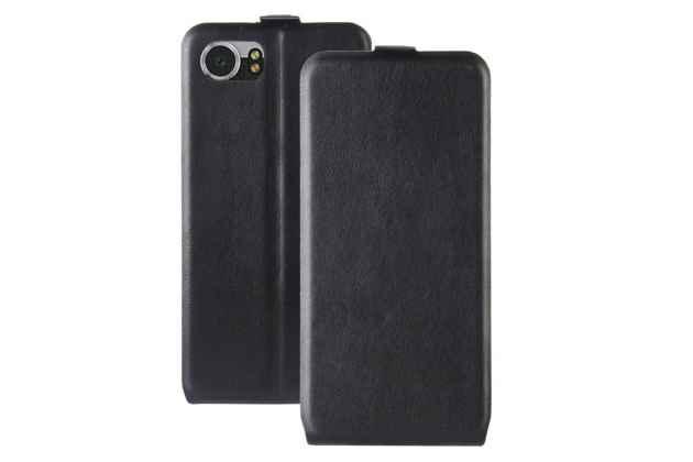 Вертикальный откидной чехол-флип для blackberry keyone/ dtek70 черный из натуральной кожи prestige италия