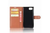 Чехол-книжка из качественной импортной кожи с подставкой застёжкой и визитницей для блэкберри кейван коричневый