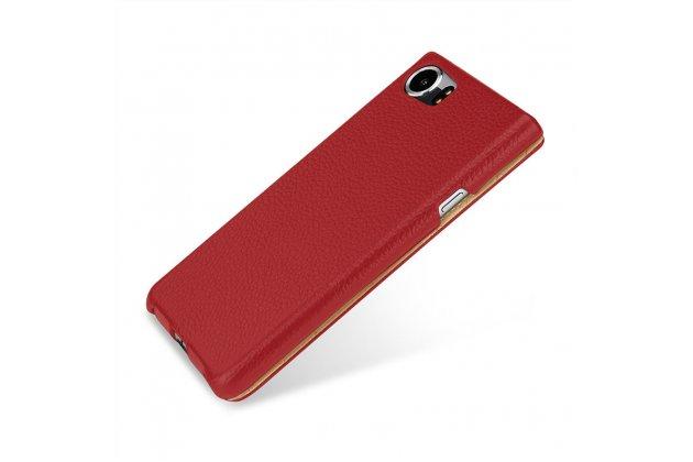 Вертикальный откидной чехол-флип для blackberry keyone/ dtek70 красный из натуральной кожи prestige