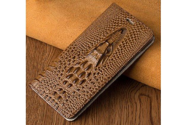 Роскошный эксклюзивный чехол с объёмным 3d изображением кожи крокодила коричневый для blackberry keyone/ dtek70 . только в нашем магазине. количество ограничено
