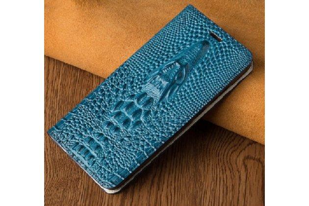 Роскошный эксклюзивный чехол с объёмным 3d изображением кожи крокодила синий для blackberry keyone/ dtek70 . только в нашем магазине. количество ограничено