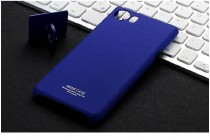 Задняя панель-крышка из прочного пластика с матовым противоскользящим покрытием для blackberry keyone/ dtek70 с подставкой в синем цвете