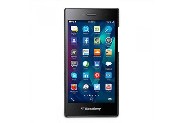 Премиальная элитная крышка-накладка из тончайшего прочного пластика и качественной импортной кожи для blackberry leap z20  ретро под старину черная