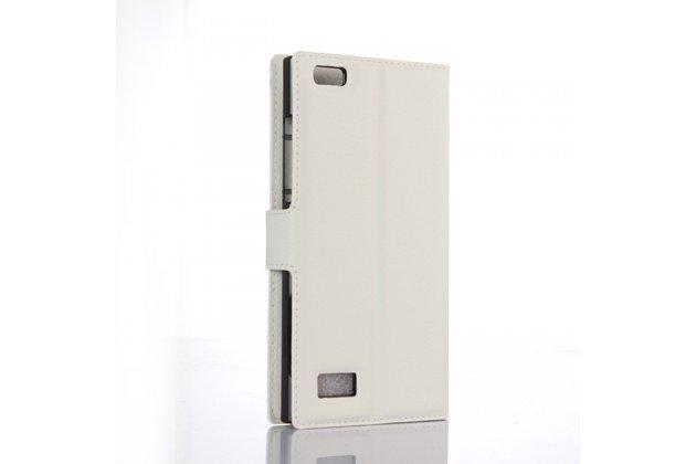 Чехол-книжка из качественной импортной кожи с мульти-подставкой застёжкой и визитницей для blackberry leap z20 белый