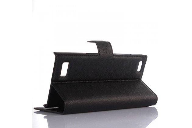 Чехол-книжка из качественной импортной кожи с мульти-подставкой застёжкой и визитницей для blackberry leap z20 черный