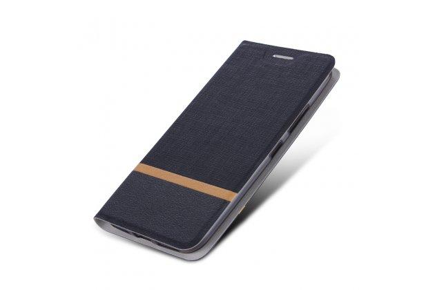 Чехол-книжка водоотталкивающий с мульти-подставкой на жёсткой металлической основе для blackberry motion / blackberry krypton черный из настоящей джинсы