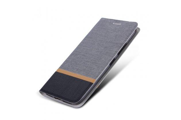 Чехол-книжка водоотталкивающий с мульти-подставкой на жёсткой металлической основе для blackberry motion / blackberry krypton серый из настоящей джинсы