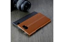 Роскошная задняя панель-крышка обтянутая импортной кожей для blackberry priv коричневая