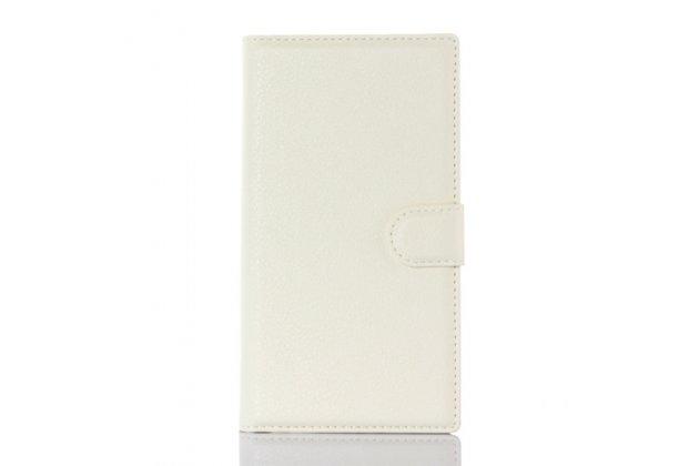 Чехол-книжка из качественной импортной кожи с подставкой застёжкой и визитницей для блэкберри прив белый