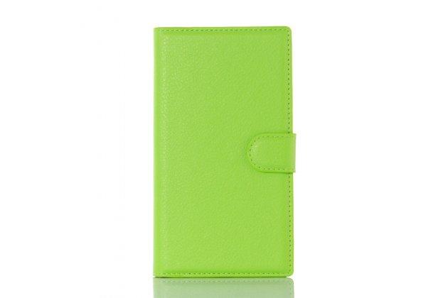 Чехол-книжка из качественной импортной кожи с подставкой застёжкой и визитницей для блэкберри прив зеленый