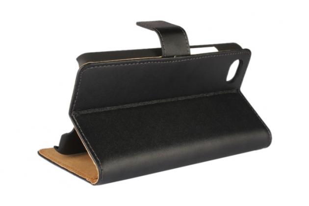 Чехол-книжка из качественной импортной кожи с подставкой застёжкой и визитницей для blackberry z30 черный