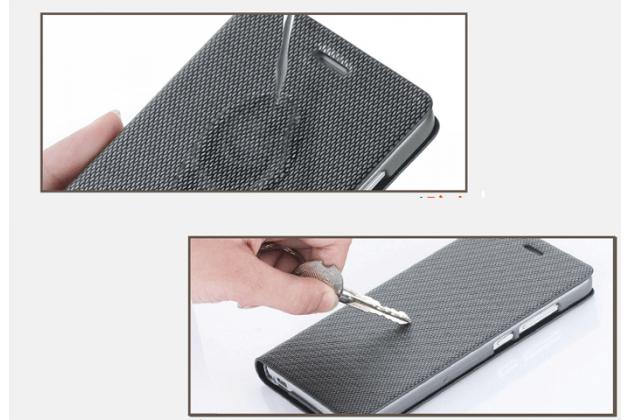 Премиальный чехол книжка бизнес класса для blackberry z30 из натуральной водоотталкивающей рельефной кожи синий