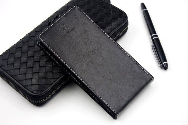 Вертикальный откидной чехол-флип для fly fs405 stratus 4 черный из натуральной кожи prestige италия