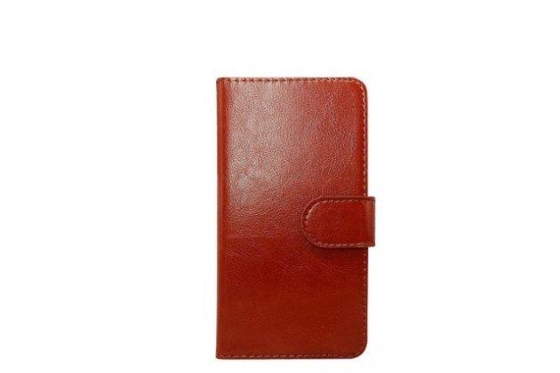 Чехол-книжка из качественной импортной кожи с визитницей для fly fs551 nimbus 4 коричневый
