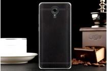 Премиальная элитная крышка-накладка на wileyfox swift черная из качественного силикона с дизайном под кожу