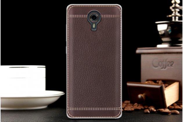 Премиальная элитная крышка-накладка на wileyfox swift коричневая  из качественного силикона с дизайном под кожу
