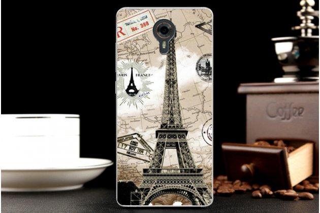 Задняя панель-крышка-накладка из тончайшего силикона для wileyfox swift с объёмным 3d рисунком тематика париж