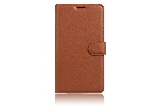 Чехол-книжка  из качественной импортной кожи с застёжкой и мультиподставкой для wileyfox swift коричневая