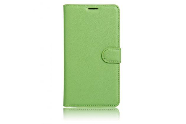 Чехол-книжка  из качественной импортной кожи с застёжкой и мультиподставкой для wileyfox swift зеленый