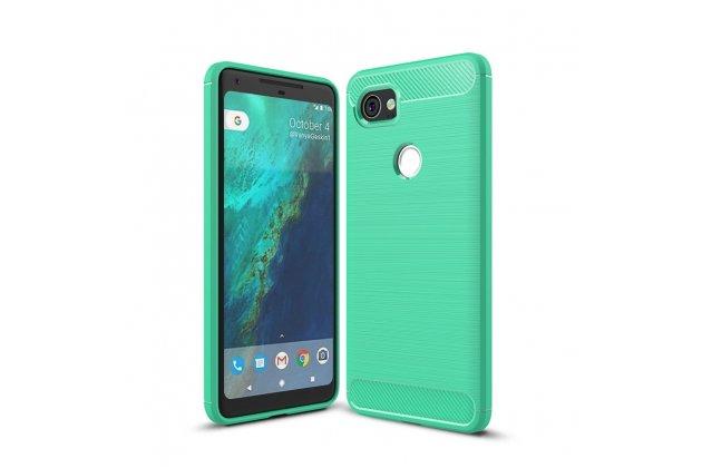 """Задняя панель-крышка из тончайшего мягкого силикона для google pixel 2 xl с матовой отделкой """"под карбон"""" зеленая"""
