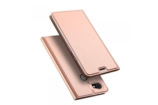 Премиальный элитный чехол-книжка с мульти-подставкой и визитницей для google pixel 2 xl водоотталкивающий цвет розовое золото