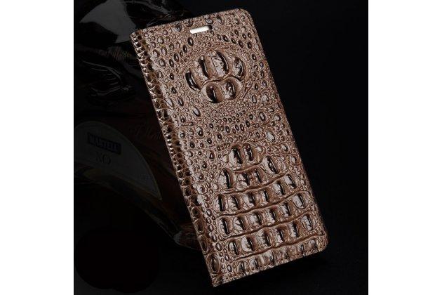 Роскошный эксклюзивный чехол с объёмным 3d изображением кожи крокодила коричневый для google pixel 2. только в нашем магазине. количество ограничено