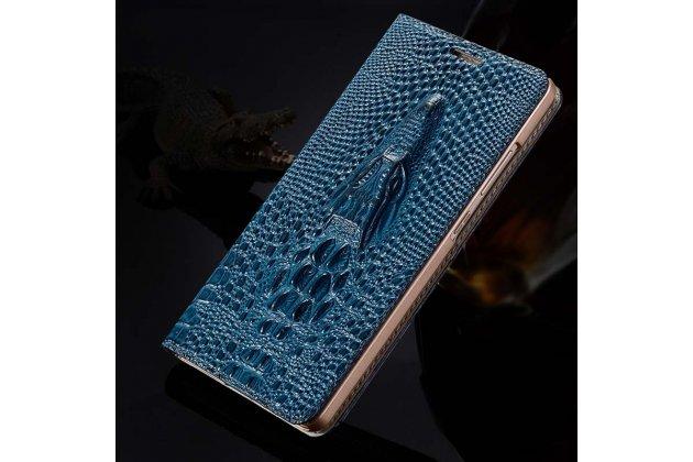 Роскошный эксклюзивный чехол с объёмным 3d изображением кожи крокодила синий для google pixel 2. только в нашем магазине. количество ограничено