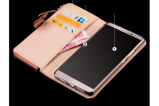 Чехол-портмоне-клатч-кошелек на силиконовой основе из качественной импортной кожи с визитницей и мультиподставкой для google pixel 2 коричневый