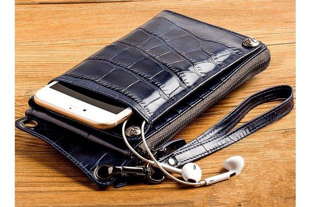 Чехол-портмоне-клатч-кошелек из качественной импортной кожи для google pixel 2 кожа крокодила синий