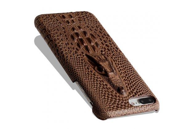 Роскошная эксклюзивная накладка с объёмным 3d изображением рельефа кожи крокодила коричневая для google pixel 2. только в нашем магазине. количество ограничено
