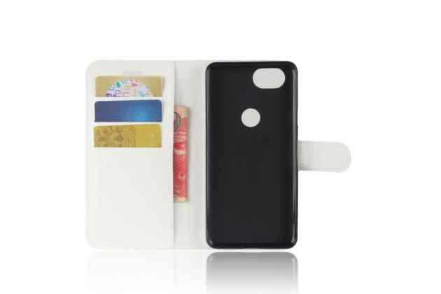 Чехол-книжка из качественной импортной кожи с застёжкой, визитницей и мультиподставкой для google pixel 2 белый