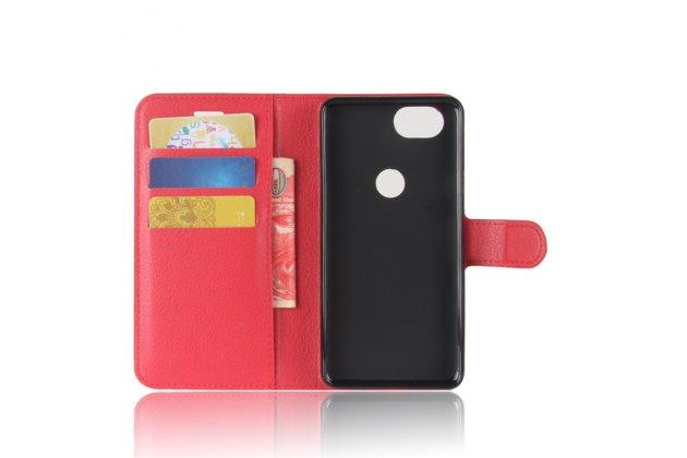 Чехол-книжка из качественной импортной кожи с застёжкой, визитницей и мультиподставкой для  google pixel 2 красный